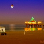 Partially eclipsed Moon over Manhattan Beach. Dec 2011